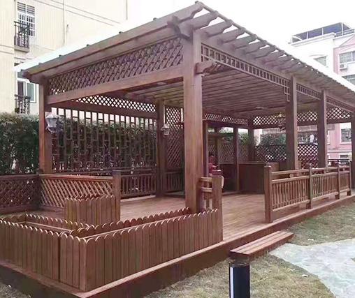 小区防腐木凉亭